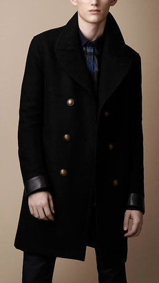 Burberry Wool Blend Leather Detail Coat