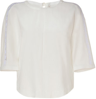 Sonia Rykiel Sonia by Ivory Top with Lace Sleeve Insert