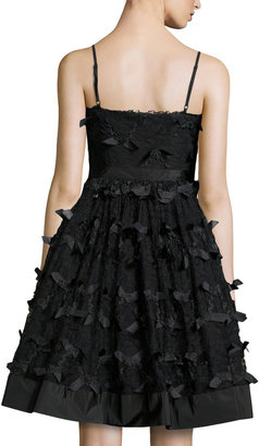 RED Valentino Zigzag Ribbon Lace Cocktail Dress, Black
