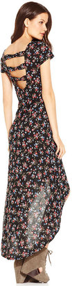 Jessica Simpson Juniors Dress, Short Sleeve Bea Floral-Print High-Low