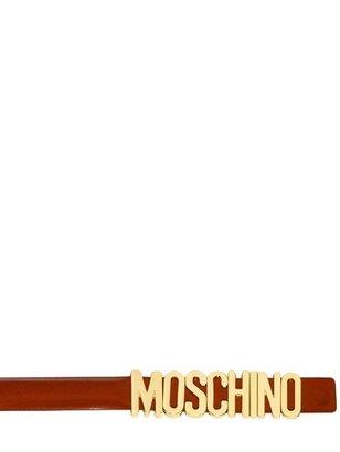 Moschino 15mm Logo Brushed Leather Belt