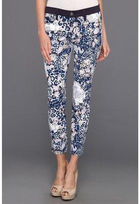 DKNY Kimono Floral Print Crop Jegging (Mood Indigo) - Apparel