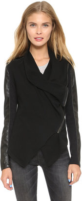Blank Denim Vegan Leather & Ponte Jacket $98 thestylecure.com