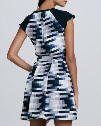 Parker Veronica Printed Cap-Sleeve Dress