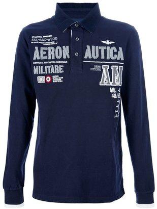 Aeronautica Militare long sleeve embroidered polo shirt