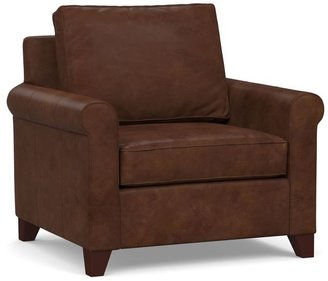 Pottery Barn Cameron Roll Arm Leather Armchair