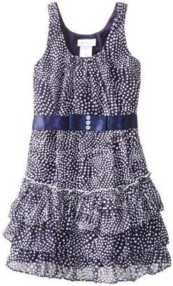 Bonnie Jean Big Girls' Sleeveless Printed Dot Chiffon with Tiered Skirt