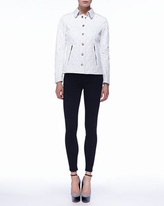 Burberry Chalk Zip-Pocket Quilted Jacket, Chalk