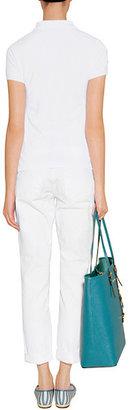 Ralph Lauren Blue Label White/Neon Turquoise Cotton Big Pony Basic Mesh Polo