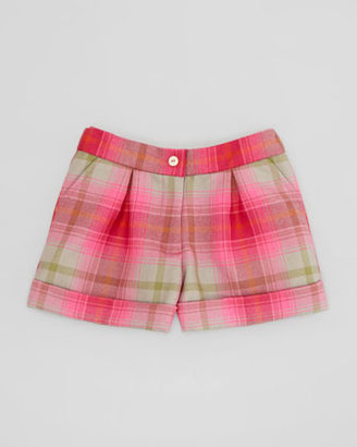 Oscar de la Renta Girls' Tartan Plaid Shorts, Hot Pink, 4Y-10Y