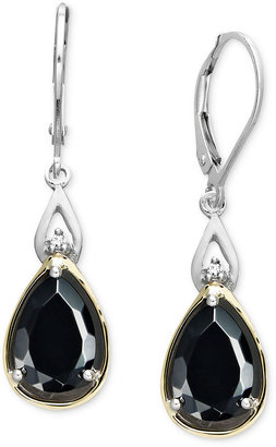 Macy's 14k Gold and Sterling Silver Earrings, Onyx (3-3/4 ct. t.w.) and Diamond Accent Teardrop Earrings