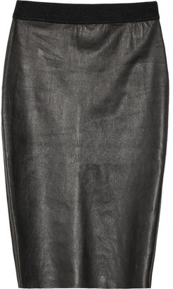 By Malene Birger Olinas leather and jersey paneled pencil skirt