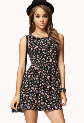 Forever 21 Fit & Flare Floral Cutout Dress