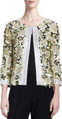 St. John Couture Hand Beade Sequin Jacket, Gold