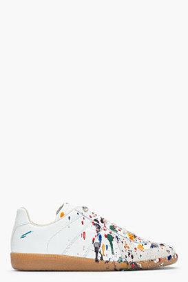 Maison Martin Margiela White leather paint splattered replica sneakers