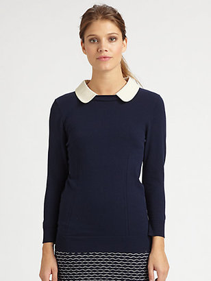 Milly Leather-Collar Sweater