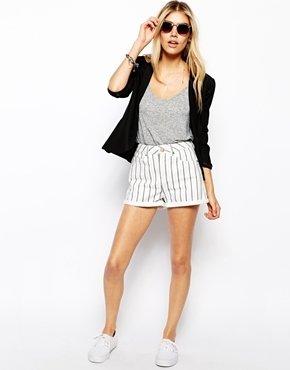Asos Denim Mom Shorts in Stripe - Multi
