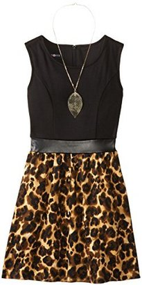 Amy Byer Big Girls' Knit-To-Woven Animal Print Tank Dress