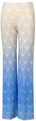 Jonathan Saunders Tonal Ocean Blue Stretch Crepe Krista Pants