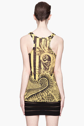 Balmain Black and yellow patterned knit linen tank top