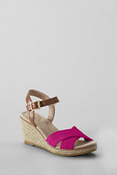 Lands' End Women's Taylor X Strap Espadrille Sandals-Soft Coral Rose $59 thestylecure.com