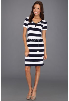 Anne Klein Stripe Print Henley Dress (Navy/White Combo) - Apparel