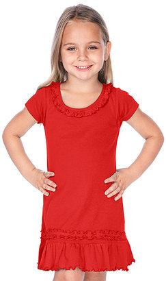 Red Short-Sleeve Sunflower Dress - Toddler & Girls