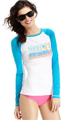 Roxy Cover Up, Long-Sleeve Logo Rashguard