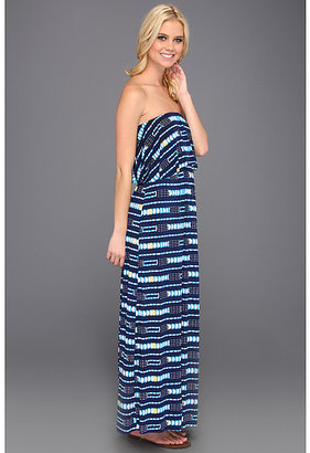 T-Bags Tbags Los Angeles Layered Ruffle Tube Long Dress w/ Cut Out Back