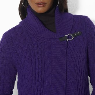 Ralph Lauren Cable-Knit Wool Shawl Cardigan