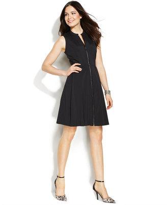 Alfani Petite Sleeveless Pleather-Trim Fit & Flare Dress