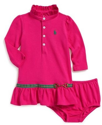 Ralph Lauren Long Sleeve Polo Dress & Bloomers (Baby Girls)