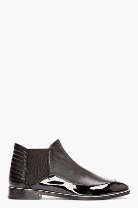 Nicholas Kirkwood Black Patent & Matte Leather Chelsea Boots
