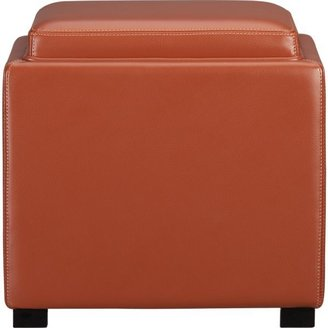 """Crate & Barrel Stow Persimmon 17.5"""" Leather Storage Ottoman."""