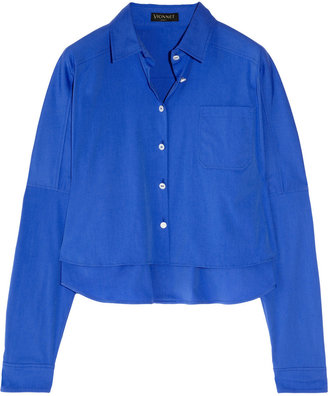 Vionnet Cropped stretch cotton-blend shirt