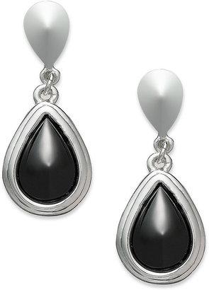 Alfani Silver-Tone Hematite Stone Teardrop Clip-On Earrings