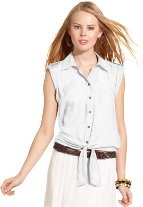 Amy Byer BCX Juniors Top, Sleeveless Tie-Front Button-Down