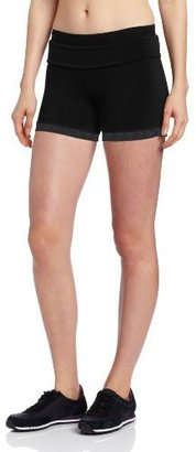 Calvin Klein Women's Roll Down Waist Hot Short, Black/Sweats Heather, Medium