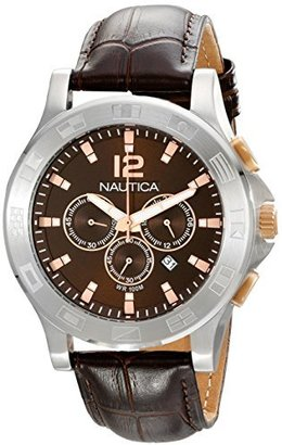 "Nautica Unisex N22620G NCS 801 ""Classic"" Stainless Steel Watch with Brown Leather Band $225 thestylecure.com"