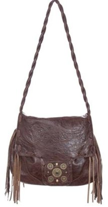 JJ Winters Leather Fringe Navajo Messenger Bag In Distressed Brown
