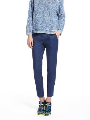 DKNY Stretch Cotton Flat Front Ankle Skinny Pant With Back Seam