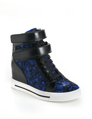 Marc by Marc Jacobs Lace High-Top Leather Wedge Sneakers
