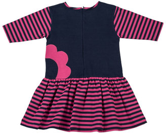 Florence Eiseman Striped Fit-and-Flare Dress, Navy/Fuchsia, Sizes 4-6X