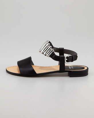 Stuart Weitzman Bars Ankle-Ornament Flat Sandal