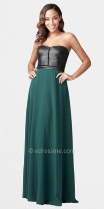 Aidan Mattox Leather Bustier and Crepe Long Skirt Dresses