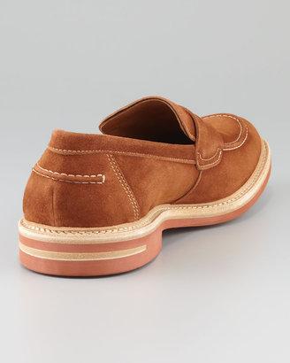 Bergdorf Goodman Contrast-Sole Suede Loafer