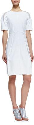 Rebecca Taylor Poplin Mesh-Inset Short-Sleeve Dress, White