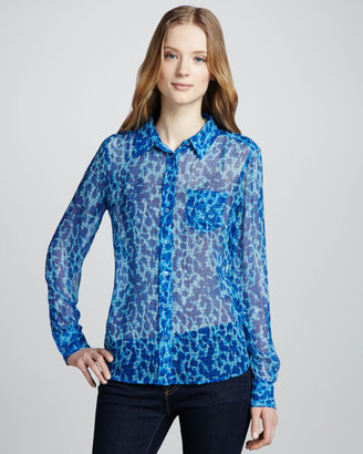 Equipment Brett Acid Leopard-Print Blouse