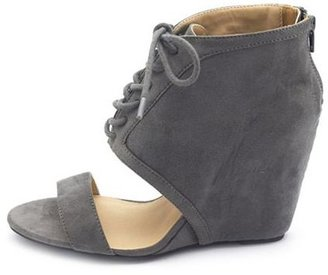 Charlotte Russe Sueded Lace-Up Wedge Sandal