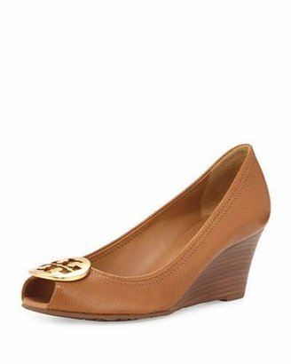 Tory Burch Sally 2 Leather Wedge Pump, Tan/Gold $265 thestylecure.com